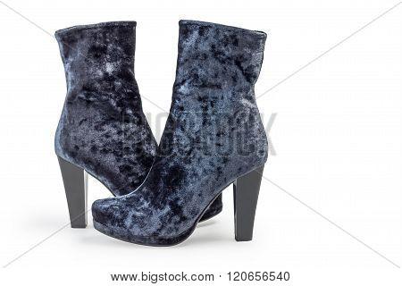 Pair of gray suede women's boots on heels