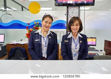PATTAYA, THAILAND - FEBRUARY 26, 2016: staff at U-Tapao International Airport. U-Tapao Rayong-Pattaya International Airport is serving Rayong and Pattaya cities in Thailand.