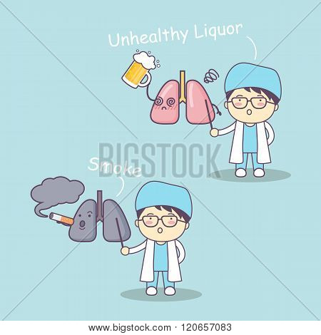 Cute Cartoon Doctor And Lung