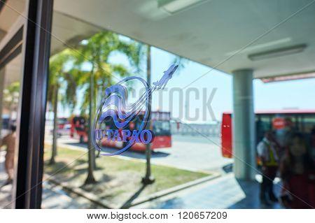 PATTAYA, THAILAND - FEBRUARY 26, 2016: close up shot of U-Tapao International Airport sign. U-Tapao Rayong-Pattaya International Airport is serving Rayong and Pattaya cities in Thailand.