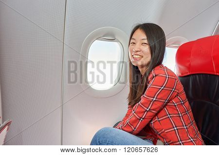 PATTAYA, THAILAND - FEBRUARY 26, 2016: inside Thai AirAsia A320. Thai AirAsia is a joint venture of Malaysian low-fare airline AirAsia and Thailand's Asia Aviation