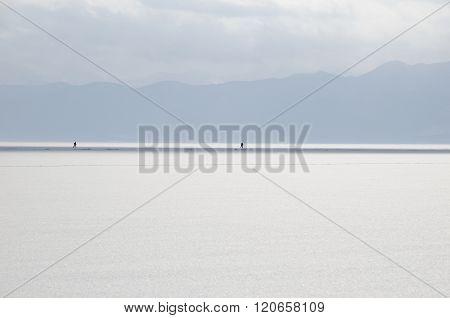 Ski Transition Through Frozen Lake Baikal In Winter