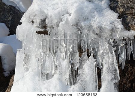 Curlicue And Icicles On The Shore Of Baikal