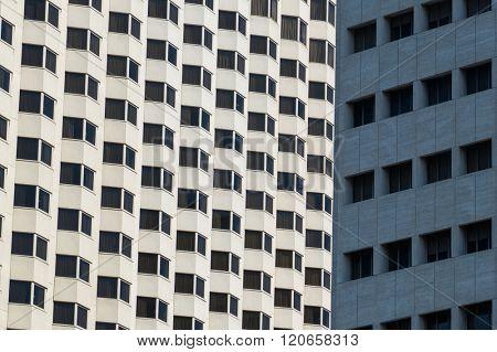 Architectural pattern on a skyscraper in Manila, Philippines.