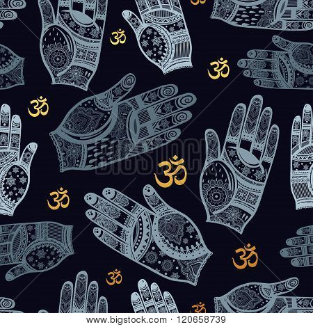Seamless vector tribal pattern with hands.
