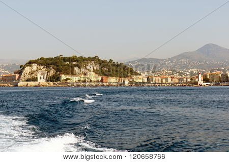 Nice harbor on the Mediterranean coast of the French Riviera. Horizontal with copy space for text