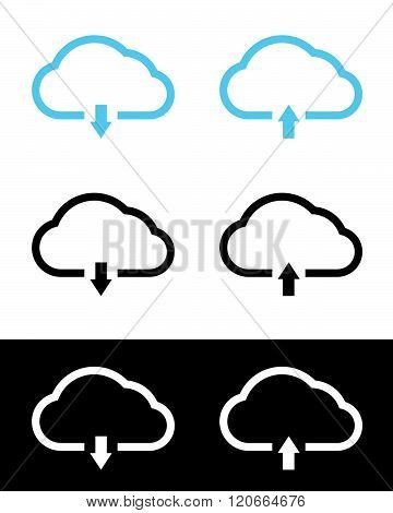Vector cloud computing icon set in colour, black and reverse