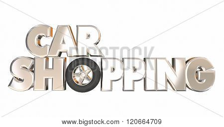 Car Shopping 3d Words Best Deal Buy Wheel Vehicle Automobile