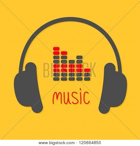 Headphones, Equalizer And Red Word Music. Icon In Flat Design Style Yellow Background.