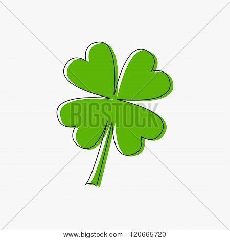 Clover Leaf. Four Petal Green Clover. Black Line Contour. Flat Design. Isolated. White Background
