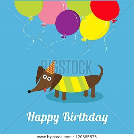 Dachshund Dog With Tongue. Striped Shirt. Cute Cartoon Character. Balloons And Hat. Happy Birthday G