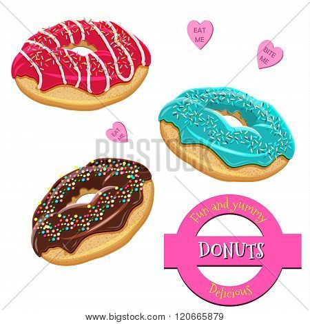 Assorted donuts set. Collection of tasty realistic donuts with different icings. Yummy vector doughnuts set with various sprinkles, toppings, glazing and icing. Hand drawn donut set isolated on white