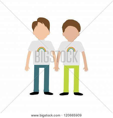 Gay Family. Boy Couple Holding Hands. Rainbow On Shirt.  Greeting Card.  Lgbt Community. Flat Design