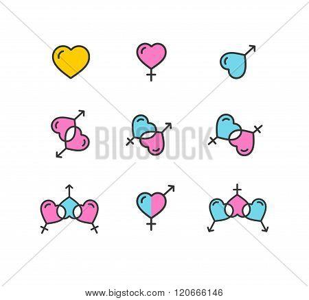 Gender Color Icon Set. Shape Heart. Vector
