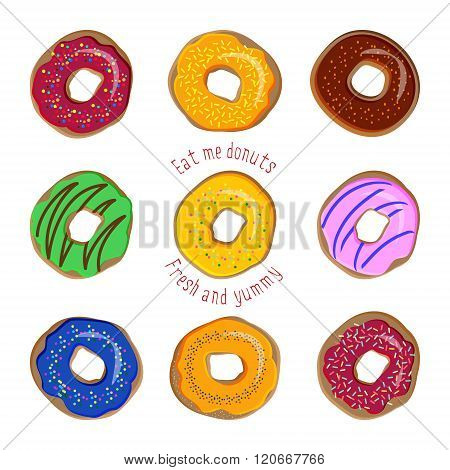 Donut vector set. Coloured donuts with different icings and sprinkles. Sweet desserts cakes doughnut cookies. Bakery set of donuts donut collection isolated on white