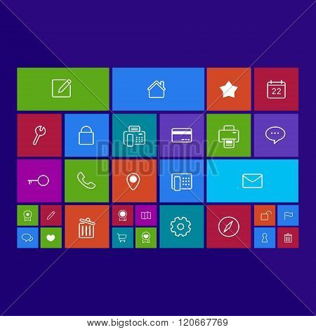 Trendy Computer Or Mobile Application App Program Of Flat Business And Office Administration Tool Ic