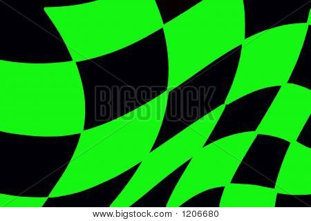 Black And Green Checkered Racing Flag