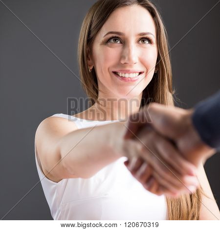 Happy Business Woman Shake Hands With Partner