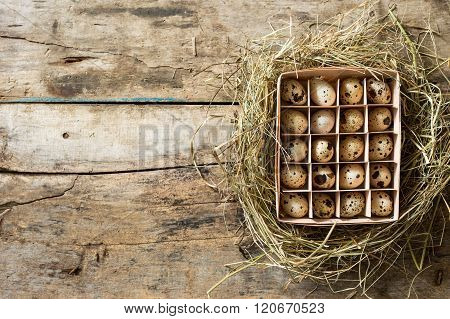 Easter Wood Background With Box Of Eggs In Nest