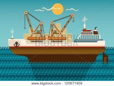 Industrial ship illustration. Vector illustration.
