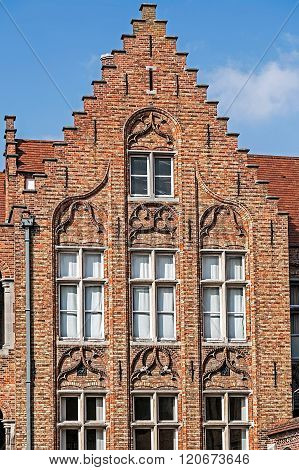 Architectural Facade Detail At One Old Building Placed In Bruges, Belgium 6