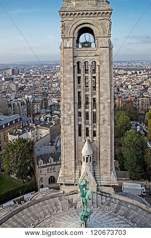 Rooftop And Aerial View From Sacre Coeur Basilica. Paris