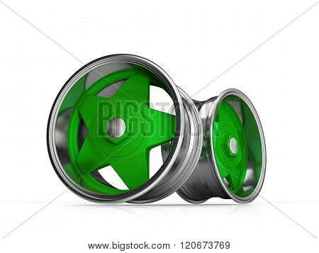 Forged Alloy Old School Green Car RIm