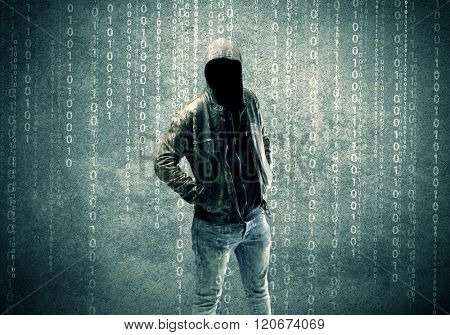 An adult online anonymous internet hacker with invisible face in urban environment and number codes illustration concept