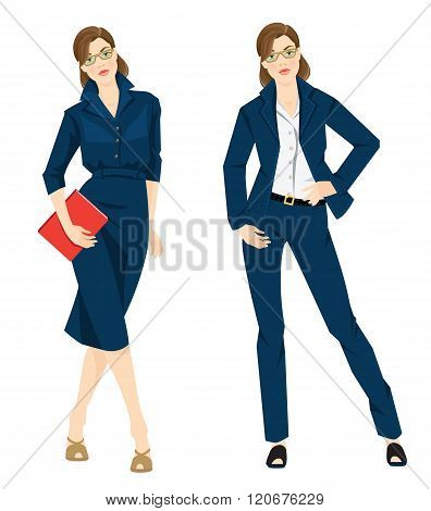 Business woman or professor in formal blue dress white blouse,