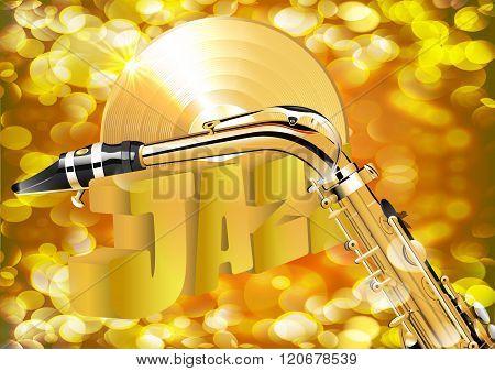saxophone and gold vinyl record closeup