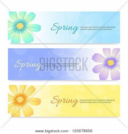 Set Of Spring Season Banner Background