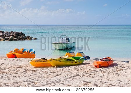 Water Sport Equipments On The Beach - Bahamas