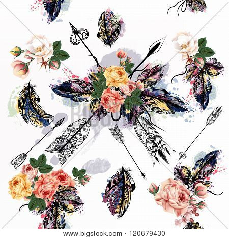 Vector Background With Hand Drawn Feathers In Engraved Tribal Style