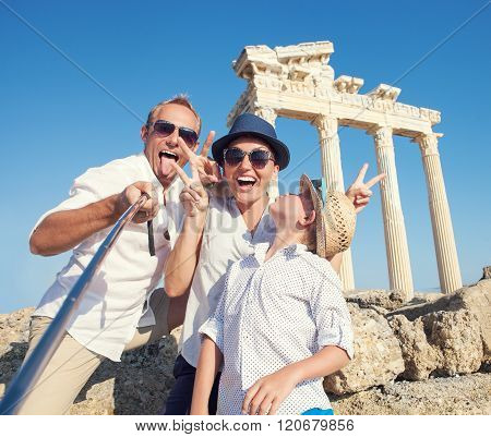 Funny Family Take A Selfie Photo On Apollo Temple Colonnade View In Side, Turkey