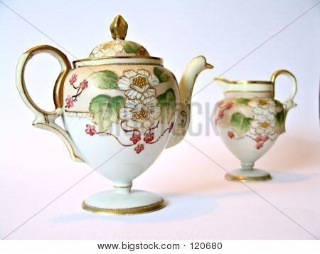Handpainted Ceramic Tea Pot And Pitcher