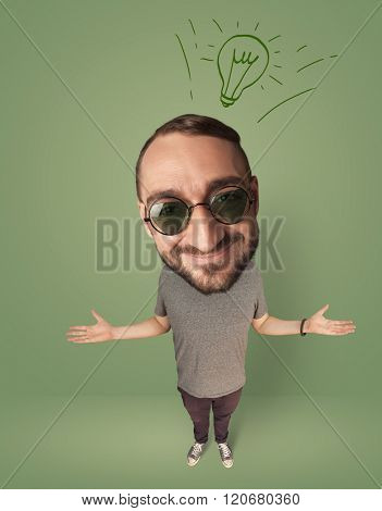 Funny person with big head and drawn idea bulb over it