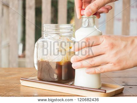 Homemade Iced Coffee Ingredient On Wooden Table