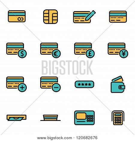 Vector Line Credit Card Icon Set