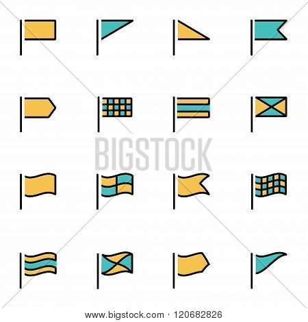 Vector Line Flags Icon Set