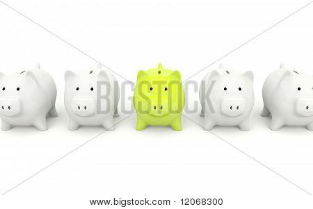 Green piggy bank