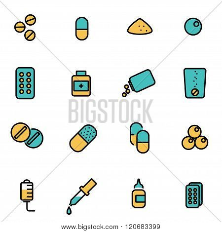 Vector Line Pills Icon Set