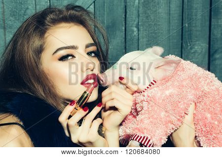 Girl And Lipstick