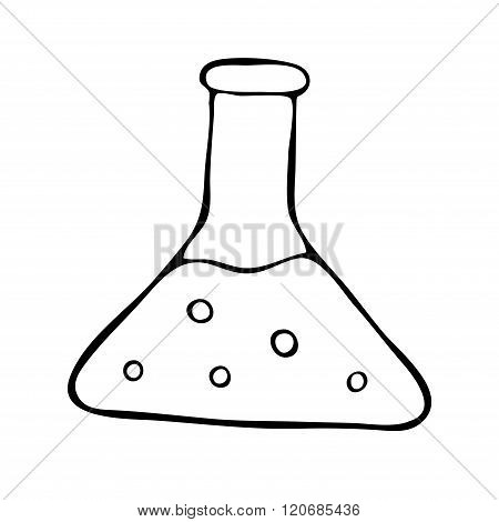 Hand drawn flask doodle vector isolated illustration