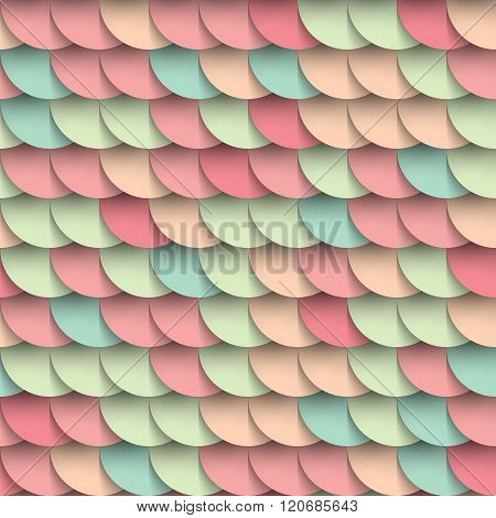 Pastel Shades Circles Geometric Shape Multicolored Seamless Pattern, Varicoloured Background, Mockup