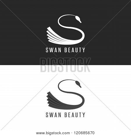 Swan Logo Mockup, Beauty Salon Bird Emblem Overlapping With Shadows Black And White Graphic Design E