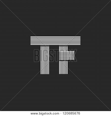 Wedding Invitation Initials Tf Letters Logo Monogram, Overlapping Parallel Thin Line Business Card T