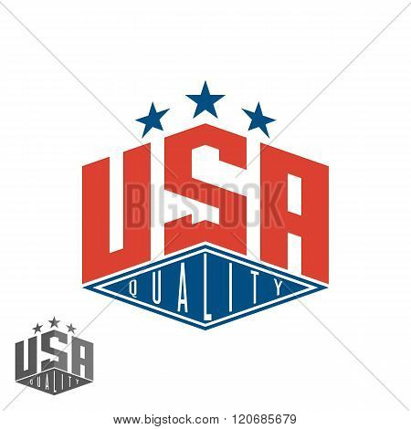 Quality Usa Logo, Colored Flag Of America Print Graphic Lettering T-shirt Mockup, American Export Po