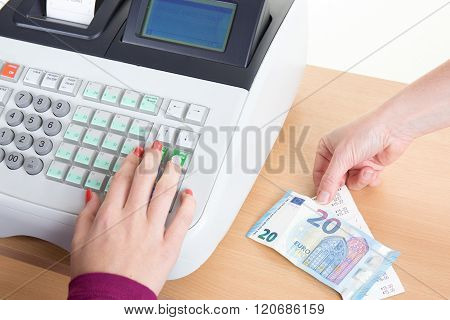 Cash Register, Woman Is Typing On It Isolated