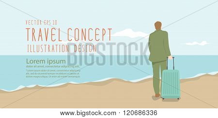 Businessman Dragging A Suitcase At The Beach Banner Flat Vector.