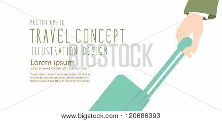 Hand Of Businessmen Who Are Dragging Luggage Banner  Flat Vector.